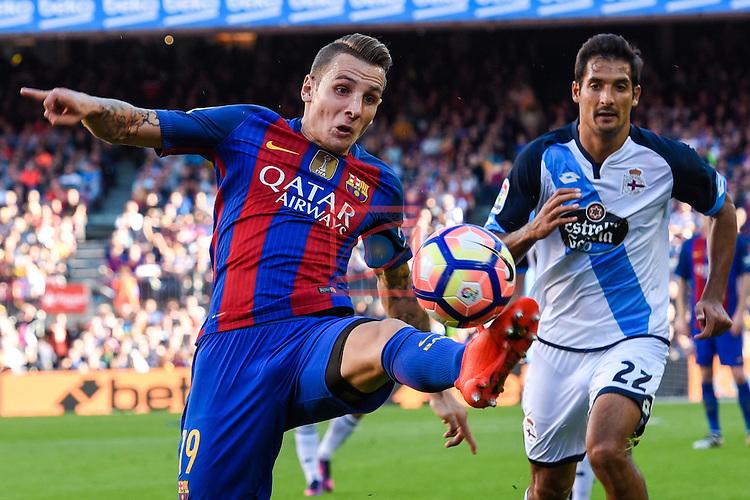 League Santander 2016/2017. Game: 8.<br /> FC Barcelona vs Deportivo: 4-0.<br /> Lucas Digne vs Borges.