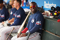 Pawtucket Red Sox center fielder Rusney Castillo (26) in the dugout during a game against the Rochester Red Wings on June 29, 2016 at Frontier Field in Rochester, New York.  Pawtucket defeated Rochester 3-2.  (Mike Janes/Four Seam Images)