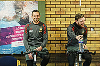 Pictured: (L-R) Paul Hayes and Mark O'Brien work out in the reception area of the stadium. Thursday 18 January 2018<br /> Re: Players and staff of Newport County Football Club prepare at Newport Stadium, for their FA Cup game against Tottenham Hotspur in Wales, UK