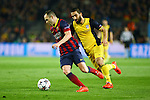 UEFA Champions League 2013/2014.<br /> Quarter-finals 1st leg.<br /> FC Barcelona vs Club Atletico de Madrid: 1-1.<br /> Andres Iniesta vs Arda Turan.