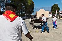Europe/France/Aquitaine/64/Pyrénées-Atlantiques/Pays-Basque/Saint-Palais: Festival de force basque, Le levé de la charrette, [Non destiné à un usage publicitaire - Not intended for an advertising use]