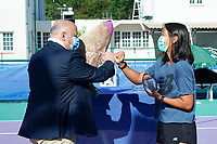 25th July 2020, Villeneuve-Loubet , France;   Bernard Giudicelli president of the FFT with winner Harmony Tan France during the Elite FFT Tennis Challenge tournament;