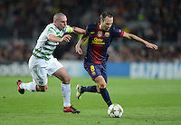 FUSSBALL   INTERNATIONAL   CHAMPIONS LEAGUE   2012/2013      FC Barcelona - Celtic FC Glasgow       23.10.2012 Andres Iniesta (re, Barca) gegen Scott Brown (Celtic)