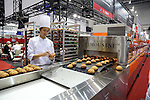 June 8, 2016, Tokyo, Japan - Japanese food machinery maker Sichiyou displays choux pastry making machine for cream puffs at the International Food Machinery and Technology Exhibition in Tokyo on Wednesday, June 8, 2016. 688 Japanese and foreign food machinery companies are exhibiting their latest technology and products in the four-day trade show.   (Photo by Yoshio Tsunoda/AFLO) LWX -ytd-