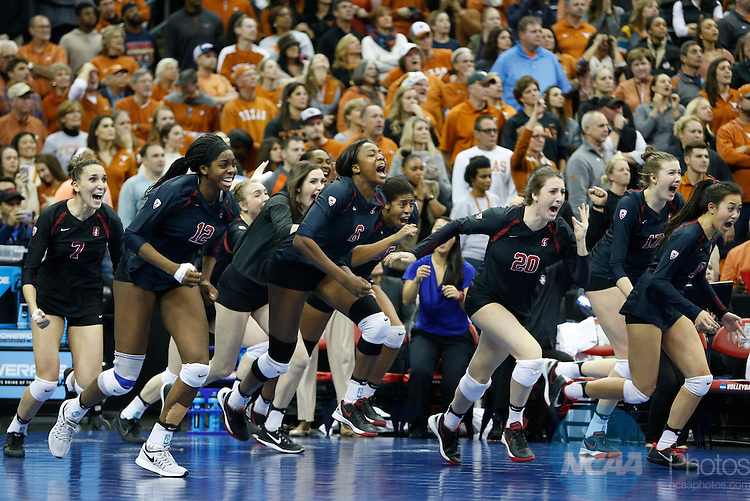 COLUMBUS, OH - DECEMBER 17:  Stanford University celebrates their victory over the University of Texas during the Division I Women's Volleyball Championship held at Nationwide Arena on December 17, 2016 in Columbus, Ohio.  Stanford beat Texas 3-1 to win the national title.  (Photo by Jay LaPrete/NCAA Photos via Getty Images)
