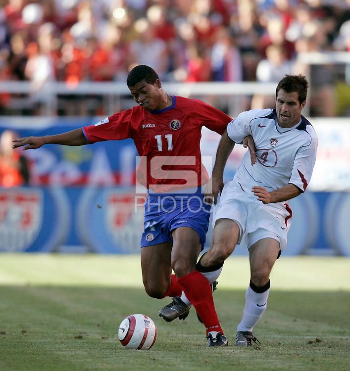 Ronald Gomez and Carlos Bocanegra at Rice-Eccles Stadium, in Salt Lake City, UT, Saturday, June 4, 2005. USA won 3-0.