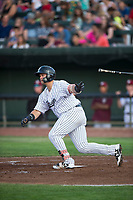 Idaho Falls Chukars designated hitter Chase Vallot (44) starts down the first base line during a Pioneer League game against the Great Falls Voyagers at Melaleuca Field on August 18, 2018 in Idaho Falls, Idaho. The Idaho Falls Chukars defeated the Great Falls Voyagers by a score of 6-5. (Zachary Lucy/Four Seam Images)