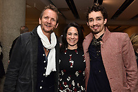 "NEW YORK CITY - APRIL 20: Sebastian Roche, Courteney Monroe, CEO, National Geographic Global Networks and Robert Sheehan attend the Sotheby's lunch and private preview of works by Picasso in conjunction with the National Geographic show ""Genius: Picasso"" at Sotheby's on April 20, 2018 in New York City. (Photo by Anthony Behar/National Geographic/PictureGroup)"