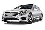 Stock pictures of low aggressive front three quarter view of 2017 Mercedes Benz S-Class S550 4 Door Sedan Low Aggressive