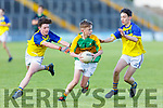 Feale Rangers Eddie Healy and Robert Heffernan putting pressure on Padraig Mangan in the U14 County District Football Championship Cup final.