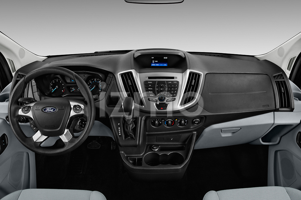 Stock photo of straight dashboard view of a 2019 Ford Transit Wagon 150 XLT Wagon Low Roof Sliding Pass. 130 5 Door Passenger Van