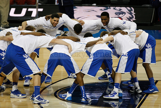 Kentucky warms up before playing UCONN in the Final Four of the 2011 NCAA Tournament, at Reliant Stadium, on Saturday, April 2, 2011.  UCONN won 56-55. Photo by Latara Appleby | Staff