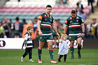Ben Youngs of Leicester Tigers with his kids after the match. Aviva Premiership match, between Leicester Tigers and Northampton Saints on April 14, 2018 at Welford Road in Leicester, England. Photo by: Patrick Khachfe / JMP