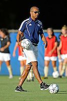 21 August 2011:  FIU Head Coach Thomas Chestnutt puts his players through warm-up drills prior to the match.  The University of Florida Gators defeated the FIU Golden Panthers, 2-0, at University Park Stadium in Miami, Florida.