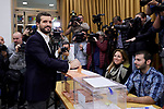 Pablo Casado during the Partido Popular leader Pablo Casado voting in Madrid at Nuestra Senora del Pilar school in Madrid, Spain. November 10, 2019. November 10, 2019. (ALTERPHOTOS/A. Perez Meca)