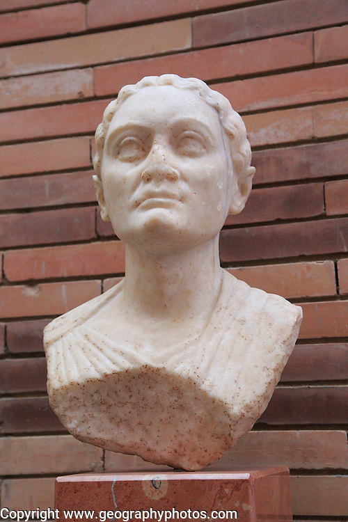 Bust of woman, Museo Nacional de Arte Romano, national museum of Roman art, Merida, Extremadura, Spain 1st century AD