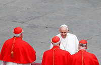 Pope Francis greets cardinals at the end of the Easter mass in St. Peter's Square at the Vatican, April 21, 2019.<br /> UPDATE IMAGES PRESS/Riccardo De Luca<br /> <br /> STRICTLY ONLY FOR EDITORIAL USE