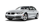 Stock pictures of low aggressive front three quarter view of 2017 BMW 3-Series 330i 4 Door Sedan Low Aggressive