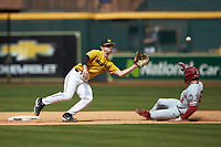 Mark Vierling (9) of the Missouri Tigers reaches for a throw as Trent Brown (2) of the Oklahoma Sooners slides into second base in game four of the 2020 Shriners Hospitals for Children College Classic at Minute Maid Park on February 29, 2020 in Houston, Texas. The Tigers defeated the Sooners 8-7. (Brian Westerholt/Four Seam Images)