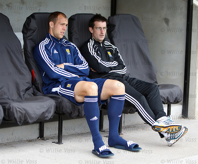 Steven Whittaker sits out the Scotland training session