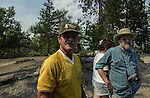 August 20, 2001 Coulterville, California  -- Creek Fire – Leonard Pope and his brother-in-law Steve Atkins evacuate his home on Jackass Ridge. The Creek Fire burned 11,500 acres between Highway 49 and Priest-Coulterville Road a few miles north of Coulterville, California.