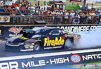 Jul 26, 2015; Morrison, CO, USA; NHRA pro stock driver Larry Morgan during the Mile High Nationals at Bandimere Speedway. Mandatory Credit: Mark J. Rebilas-USA TODAY Sports