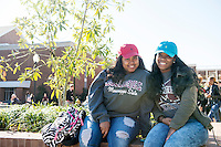 Student friends at Union Plaza: Madarria Wilson and Tierra Zinn.<br />  (photo by Megan Bean / &copy; Mississippi State University)