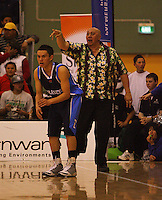 Fraser College coach Jeff Green yells to his team during the NZ Secondary Schools Basketball Championships match between Fraser High School and St Patricks College at Arena Manawatu, Palmerston North, New Zealand on Saturday 4 October 2008. Photo: Dave Lintott / lintottphoto.co.nz