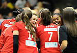 Rüsselsheim, Germany, April 13: Rote Raben Vilsbiburg celebrate after winning the play off Game 1 in the best of three series in the semifinal of the DVL (Deutsche Volleyball-Bundesliga Damen) season 2013/2014 between the VC Wiesbaden and the Rote Raben Vilsbiburg on April 13, 2014 at Grosssporthalle in Rüsselsheim, Germany. Final score 0:3 (Photo by Dirk Markgraf / www.265-images.com) *** Local caption *** Linda Helterhoff #8 of the Rote Raben Vilsbiburg, Cristina Alves Oliveira Ferreira #1 of the Rote Raben Vilsbiburg
