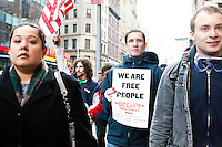 After marching earlier in the morning with the aim to shut down Wall Street and the Stock Exchange, hundreds of protesters march to Union Square to join an already gathered group of student protesters on November 17, 2011 in New York City.