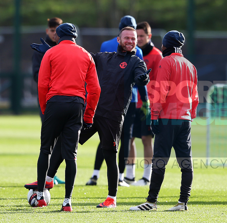 Wayne Rooney of Manchester United shares a joke with Juan Mata and Ashley Young during the UEFA Europa League training session at the AON Training Complex, Manchester. Picture date: November 23rd 2016. Pic Matt McNulty/Sportimage