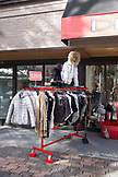 USA, Colorado, Aspen, clothing rack on display in front of Denimaxx store, downtown Aspen