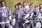 Matt Siegmund (2) of the High Point Panthers and his teammates stand for the National Anthem prior to their game against the UMBC Retrievers at Vert Track, Soccer & Lacrosse Stadium on March 15, 2014 in High Point, North Carolina.  The Panthers defeated the Retrievers 17-15.   (Brian Westerholt/Sports On Film)