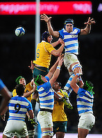 Guido Petti of Argentina wins the ball at a lineout. The Rugby Championship match between Argentina and Australia on October 8, 2016 at Twickenham Stadium in London, England. Photo by: Patrick Khachfe / Onside Images