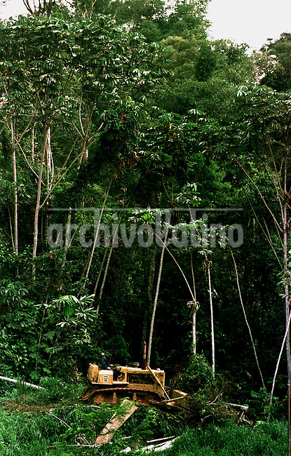 A bulldozer deforents the jungle for oil exploracion near near  the Petrobras Urucu oil well in the Amazon rain forest. Brazil is exploring for oil all around the country and the continental see, trying to become self suficient in energy, breaking.