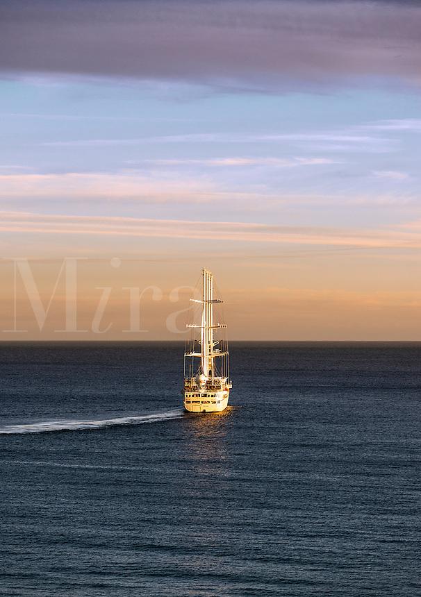 Wind Star cruise ship at sea.