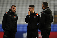 Blackpool's Nick Anderton, Ryan Hardie and Ryan Edwards<br /> <br /> Photographer Kevin Barnes/CameraSport<br /> <br /> The EFL Sky Bet League One - Bolton Wanderers v Blackpool - Monday 7th October 2019 - University of Bolton Stadium - Bolton<br /> <br /> World Copyright © 2019 CameraSport. All rights reserved. 43 Linden Ave. Countesthorpe. Leicester. England. LE8 5PG - Tel: +44 (0) 116 277 4147 - admin@camerasport.com - www.camerasport.com