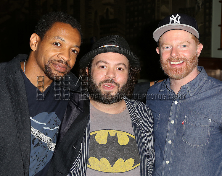 Derrick Baskin, Dan Fogler and Jesse Tyler Ferguson attends the After Party for the One Night Only 10th Anniversary Concert of 'The 25th Annual Putnam County Spelling Bee' at Town Hall on July 6, 2015 in New York City.