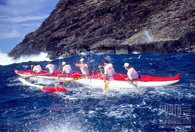 Outrigger canoe racing; Outrigger Canoe Club Men's crew, Men's Lanikai Race; Makapu'u, Oahu, Hawaii.