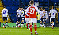 The Bury team celebrate their second goal, scored by Chris Dagnall<br /> <br /> Photographer Alex Dodd/CameraSport<br /> <br /> The EFL Checkatrade Trophy Group B - Bury v Fleetwood Town - Tuesday 13th November 2018 - Gigg Lane - Bury<br />  <br /> World Copyright &copy; 2018 CameraSport. All rights reserved. 43 Linden Ave. Countesthorpe. Leicester. England. LE8 5PG - Tel: +44 (0) 116 277 4147 - admin@camerasport.com - www.camerasport.com