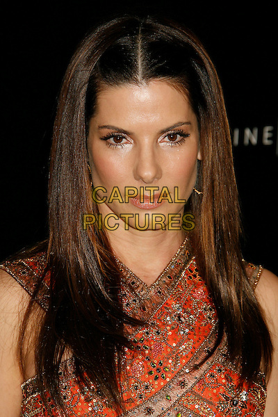 SANDRA BULLOCK.2007 Costume Designers Guild Awards held at the Beverly Wilshire Hotel, Beverly Hills, California, USA,.17 February 2007..portrait headshot orange gold beaded dress.CAP/ADM/RE.©Russ Elliot/AdMedia/Capital Pictures.