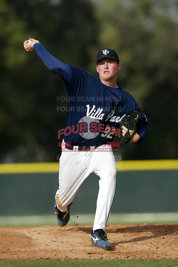 Mark Trumbo of Villa Park High School delivers a pitch during a High School baseball game at Villa Park High School on April 2, 2004 in Villa Park, California.  (Larry Goren/Four Seam Images)