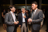 Hiroshi Mikitani, Chairman of the board of Tokyo Philharmonic Orchestra, rights, attends the reception cocktail after the 100th Anniversary concert at the Esplanade Hall on 20 March 2014 in Singapore. Photo by Jerome Favre / studioEAST
