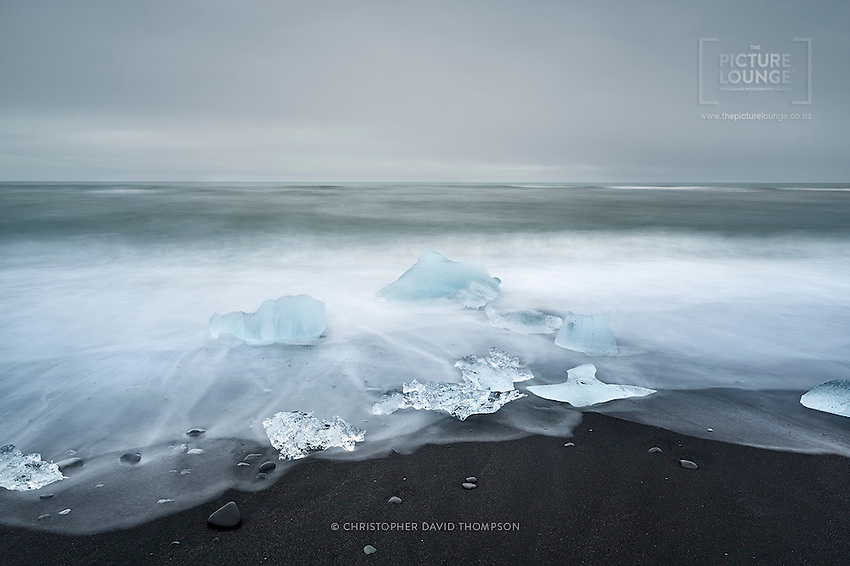 The amazing Jókulsárlon beach is renowned worldwide for its black sand and collection of icebergs that have washed down from the glaciers. Captured beautifully here by Wanaka based landscape photographer Christopher David Thompson.