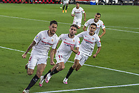 11th June 2020, Sevilla, Spain;  La Liga Spanish football league. Sevilla FC versus Real Betis. Resumption of football matches in Spain after three months postponed by the global pandemic of COVID-19. Lucas Ocampos (Sevilla FC).