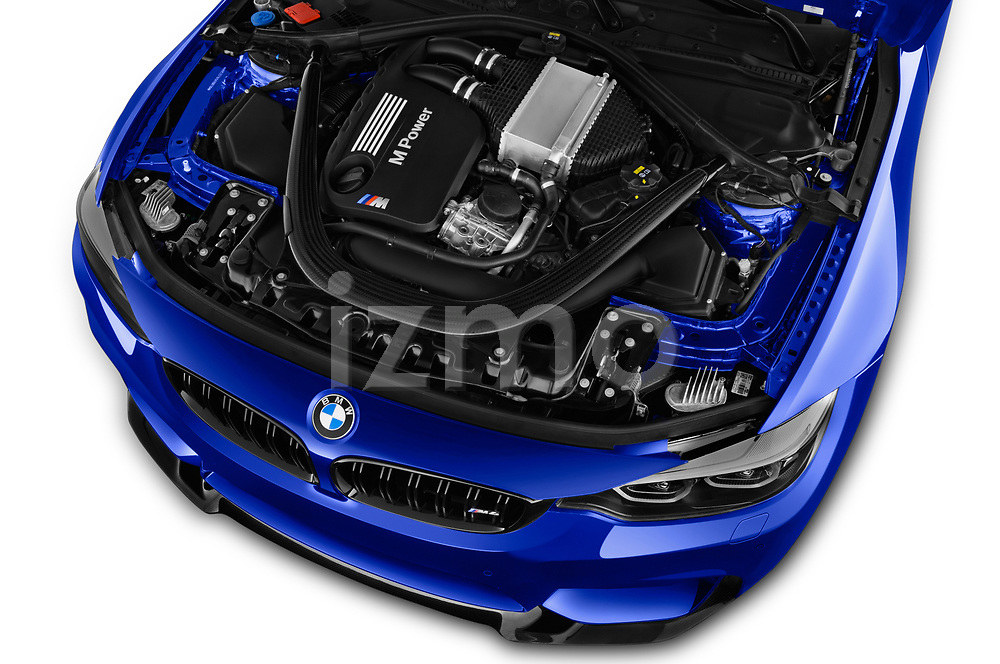 Car stock 2018 BMW M4 M4 CS 2 Door Coupe engine high angle detail view