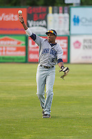 Lake County Captains outfielder Greg Allen (6) warms up prior to a Midwest League game against the Wisconsin Timber Rattlers on June 3rd, 2015 at Fox Cities Stadium in Appleton, Wisconsin. Wisconsin defeated Lake County 3-2. (Brad Krause/Four Seam Images)