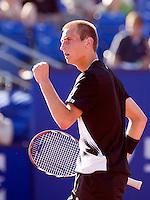 14-7-08, Amersfoort, Tennis, Dutch Open,  Thiemo de Bakker bald zijn vuist richting Raemon Sluiter, hij plaatst zich voor de twede ronde,
