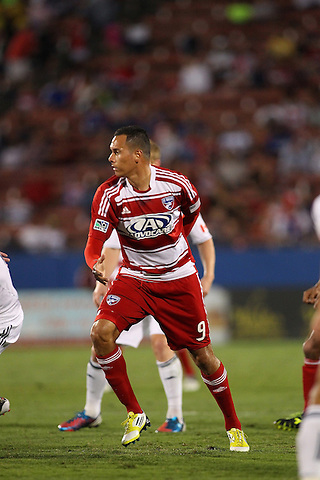 FRISCO, TX - SEPTEMBER 15: Blas Perez #9 of FC Dallas in action against the Vancouver FC at FC Dallas Stadium on September 15, 2012 in Frisco, Texas. (Photo by Rick Yeatts)