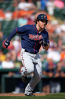 Minnesota Twins center fielder Joe Benson (43) runs to first base during a Spring Training game against the Baltimore Orioles on March 7, 2016 at Ed Smith Stadium in Sarasota, Florida.  Minnesota defeated Baltimore 3-0.  (Mike Janes/Four Seam Images)